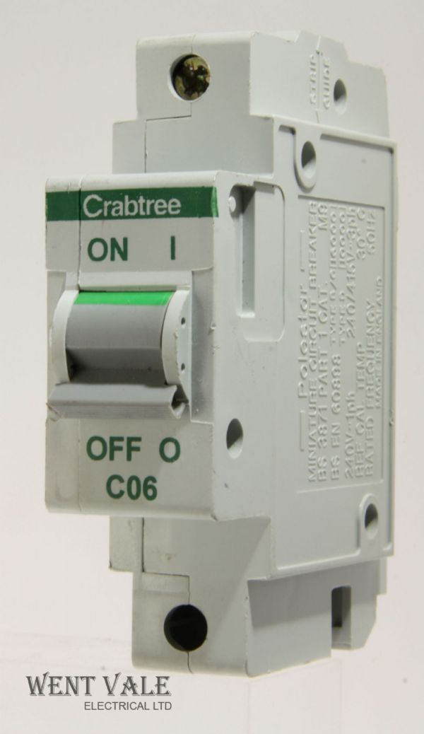 Crabtree Polestar - 60C/06 - 6a Type C Single Pole MCB Used